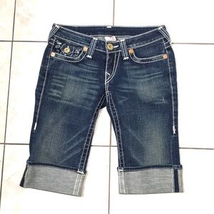 True Religion Woman's Blue Denim Knee Shorts